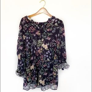 F&F Blouse Blue and Floral Print Plus Size 18